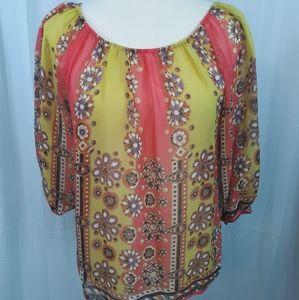Anthropologie fei silk peasant blouse sz SP *L